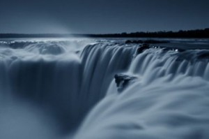 Iguazu falls at night full moon